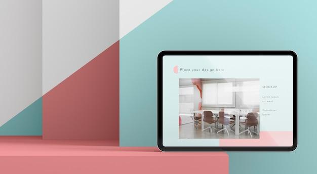 Maquete de tablet moderno de vista frontal