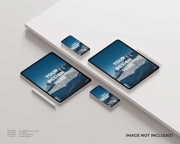 Maquete de tablet, smartphone e caneta com plataforma na lateral