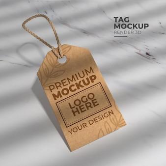Maquete de tag 3d renderização realista