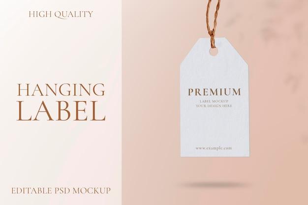 Maquete de tag de balanço, psd de design em branco realista