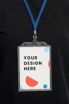 Maquete de tag de nome psd com padrão abstrato