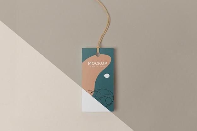 Maquete de tag de produto de vista superior