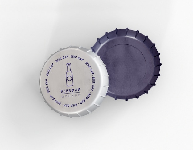 Maquete de tampas de cerveja
