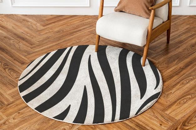 Maquete de tapete redondo psd padrão estampado com zebra essencial para sala de estar
