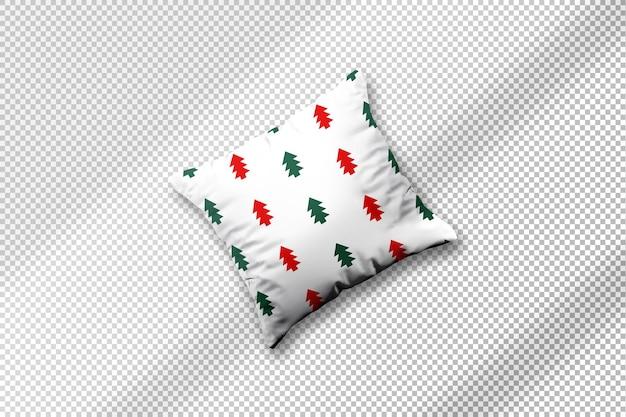 Maquete de tecido de almofada com desenho de natal com sombra