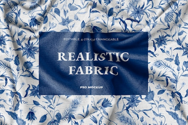 Maquete de tecido de seda realista psd com um lindo padrão floral