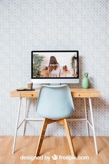 Maquete de tecnologia e espaço de trabalho com o pc desktop