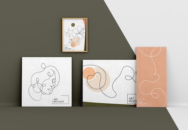 Maquete de tela com formas orgânicas e moldura