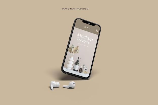 Maquete de tela de aplicativo de dispositivos de smartphone flutuante