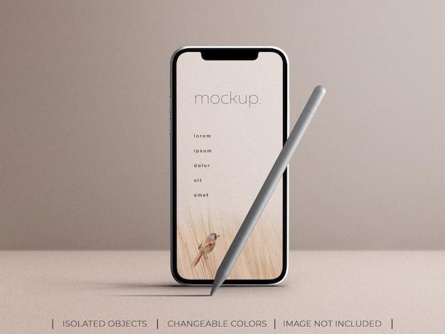 Maquete de tela de aplicativo de smartphone com vista frontal de lápis stylus isolada