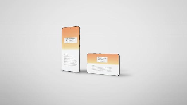 Maquete de tela de aplicativo de smartphone vertical e horizontal