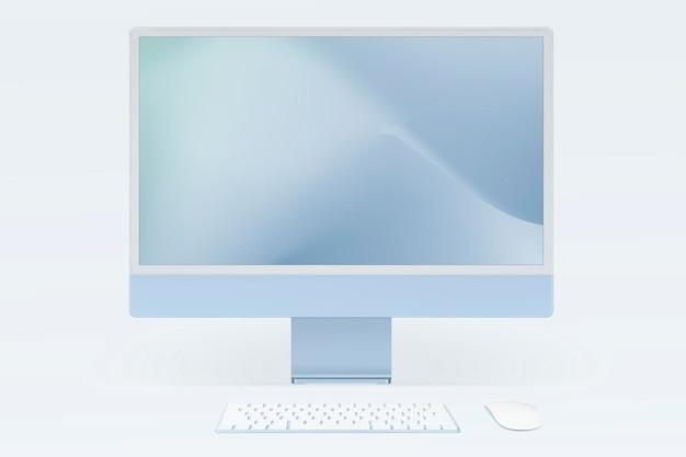 Maquete de tela de computador de computador psd azul estilo mínimo de dispositivo digital
