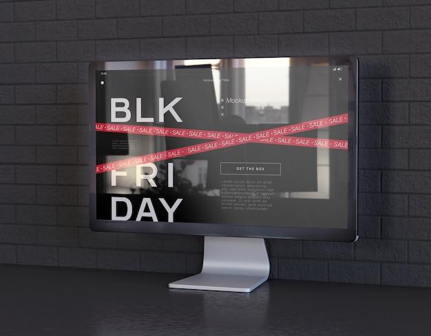 Maquete de tela de computador no escritório