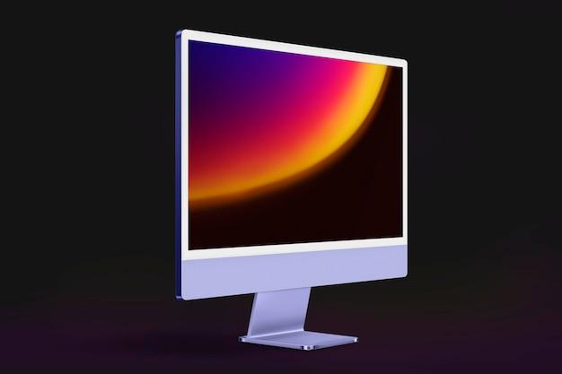 Maquete de tela de computador psd roxo dispositivo digital estilo mínimo