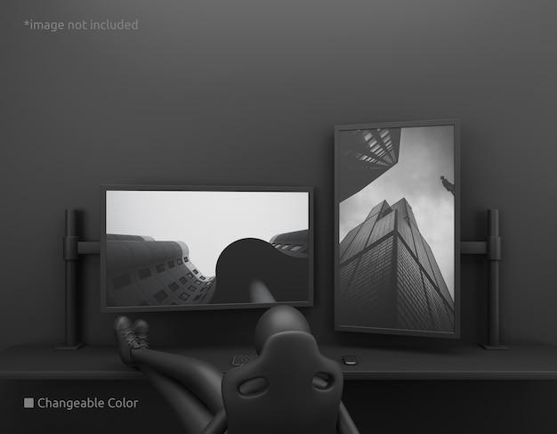 Maquete de tela de desktop de pc vertical e horizontal com proprietário preguiçoso
