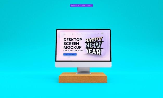Maquete de tela de desktop de vista frontal psd premium