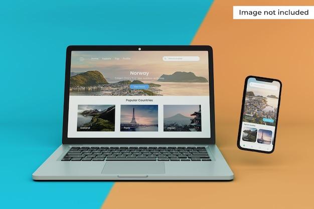 Maquete de tela de dispositivo móvel e laptop moderno
