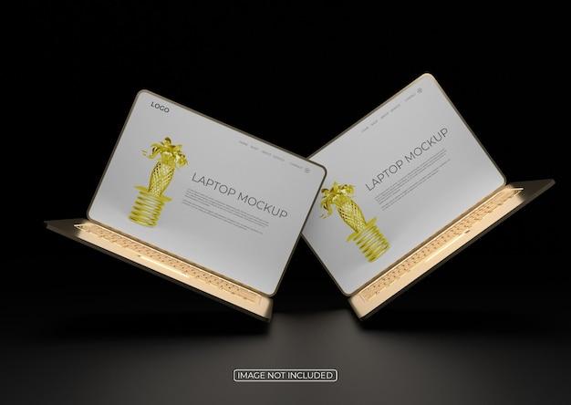 Maquete de tela de dois laptops ouro elegante