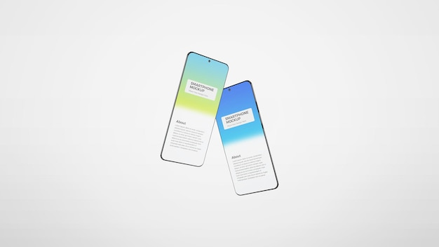 Maquete de tela de dois smartphones com inclinação diferente