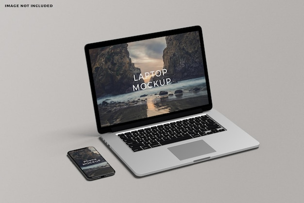 Maquete de tela de laptop e smartphone