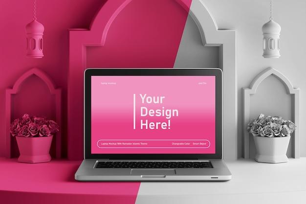 Maquete de tela de laptop em cena 3d editável em cores renderizar tema islâmico ramadan eid mubarak
