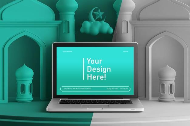 Maquete de tela de laptop em cores mutáveis no tema islâmico de renderização 3d criativa ramadan eid mubarak