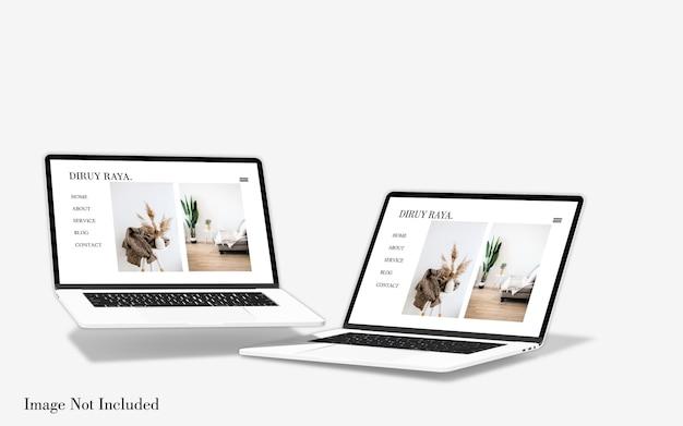 Maquete de tela de laptop macbook flutuante isolada