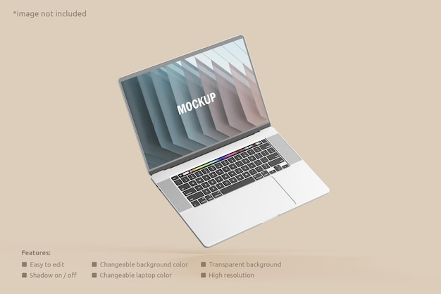 Maquete de tela de laptop voador