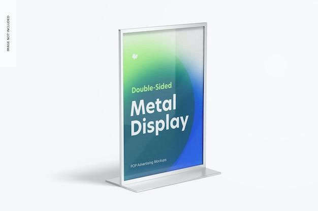 Maquete de tela de mesa de metal de pôster dupla face, vista direita