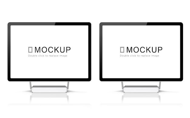 Maquete de tela de monitor de mesa dupla