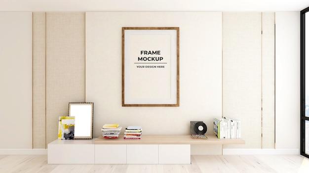 Maquete de tela de parede em design de interiores minimalista