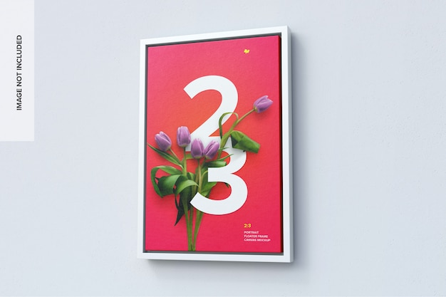 Maquete de tela de retrato 2x3 em moldura flutuante