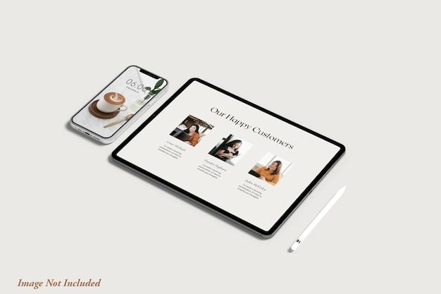 Maquete de tela de tablet e telefone