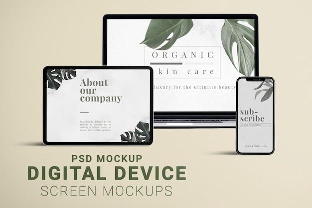 Maquete de tela de vários dispositivos, conjunto psd de espaço de design em branco
