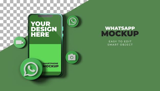 Maquete de tela do smartphone 3d whatsapp