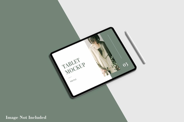 Maquete de tela do tablet com lápis premium psd