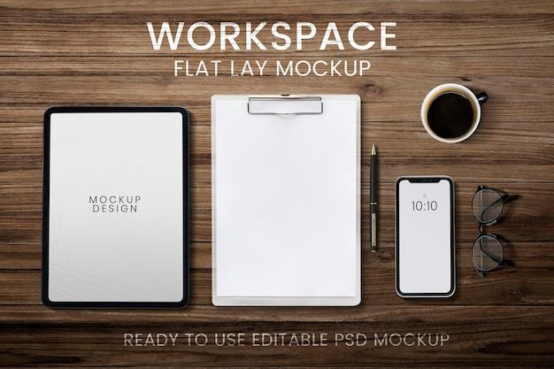 Maquete de tela do tablet do telefone, espaço de trabalho psd e dispositivo digital flat lay