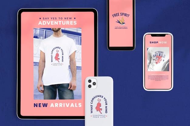 Maquete de tela do tablet do telefone psd e dispositivos digitais de design de capa