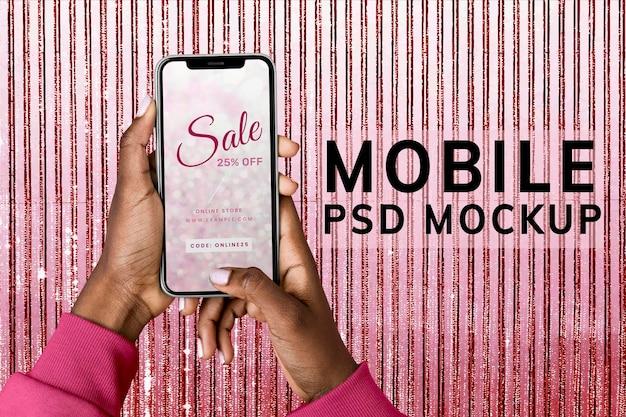 Maquete de tela do telefone, espaço de design estético rosa psd