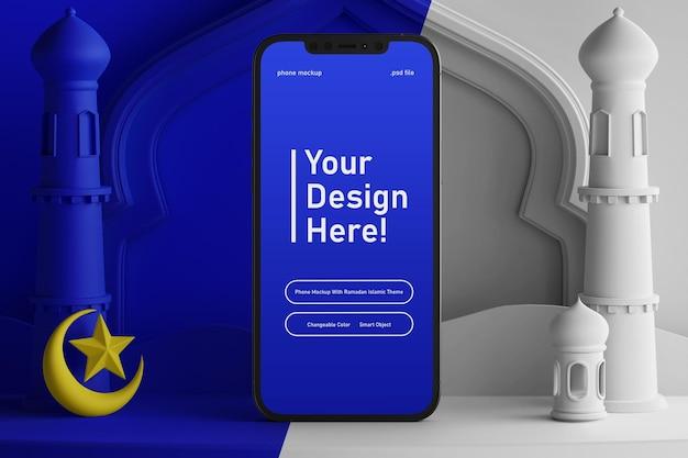Maquete de tela do telefone inteligente com cores mutáveis, render 3d criativo, ramadan eid mubarak, tema islâmico