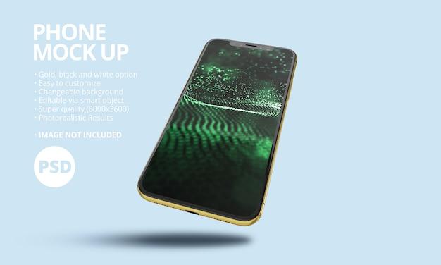 Maquete de tela do telefone móvel premium. maquete de smartphone moderno, psd.