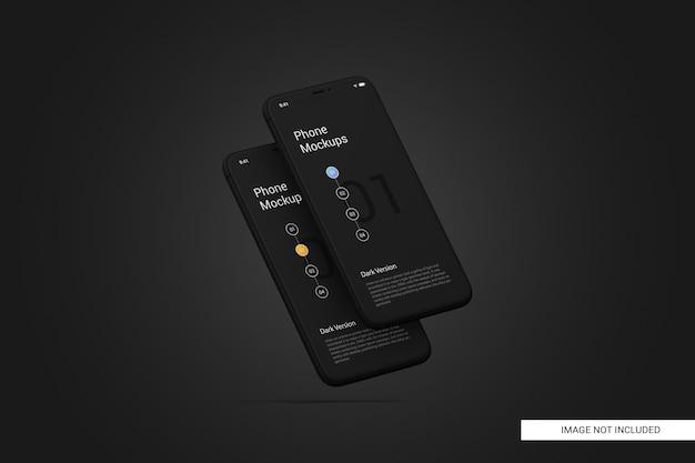 Maquete de tela do telefone móvel preto