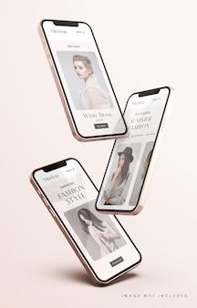 Maquete de tela do telefone vermelha e dourada com modelo de apresentação de aplicativo móvel