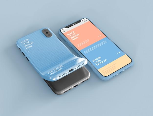 Maquete de tela e estojo para smartphone
