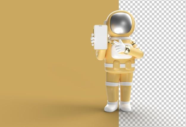 Maquete de tela em branco do smartphone de astronauta apontando o dedo para a mão