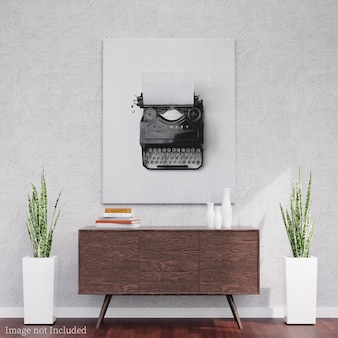 Maquete de tela em mesa de madeira