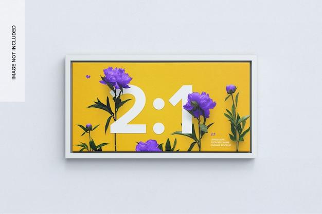 Maquete de tela paisagem 2x1 em moldura flutuante