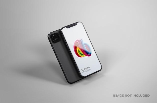 Maquete de tela preta do smartphone isolada
