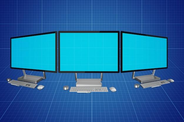 Maquete de telas de computador