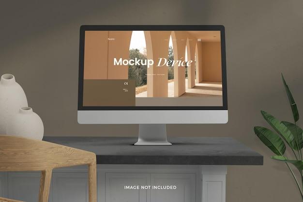 Maquete de telas de desktop realistas de vista frontal